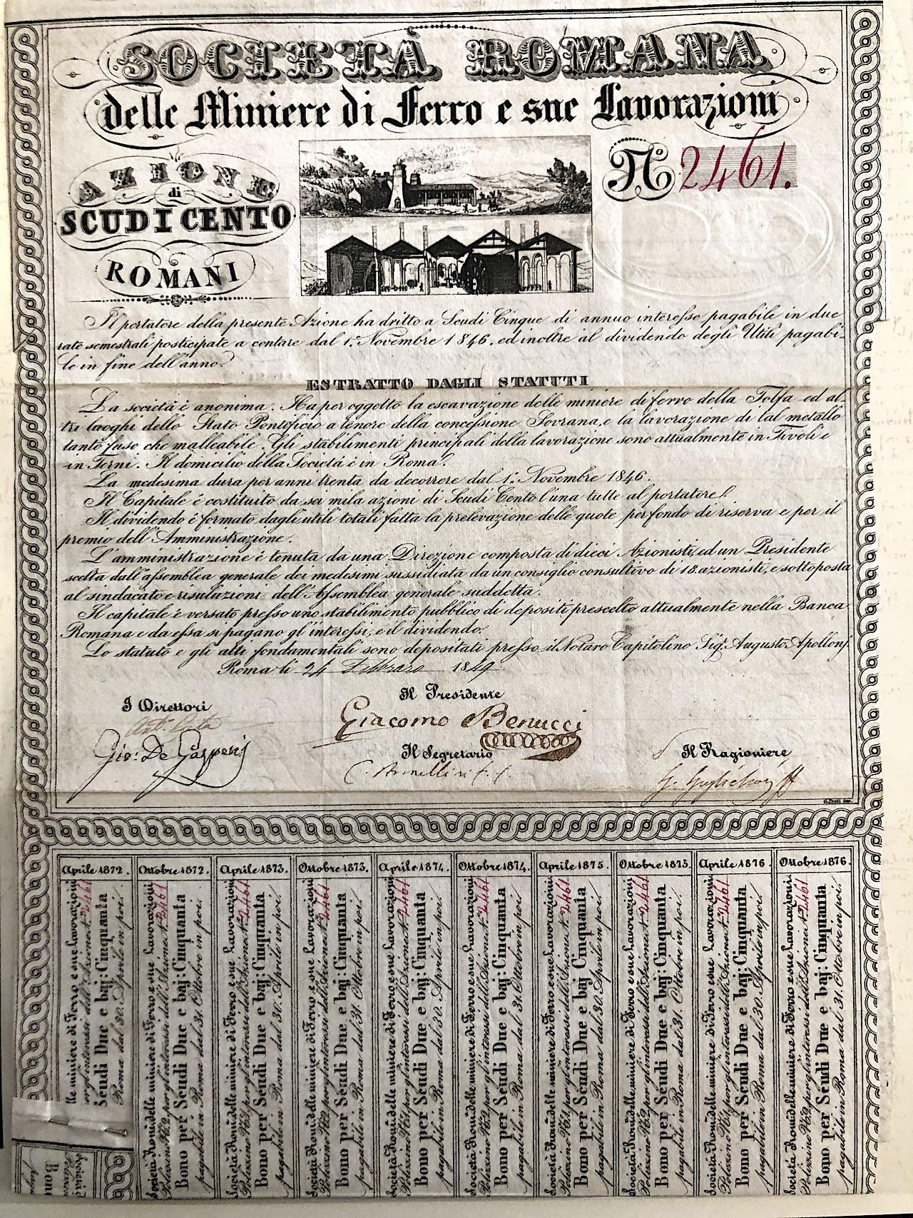 1849 Romana Delle Miniere Di Ferro E Sue Lavorazioni Soc Firma Di Armellini Roma